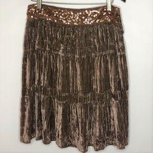 BCBGMaxAzria Velvet Tiered Sequin Trim Skirt